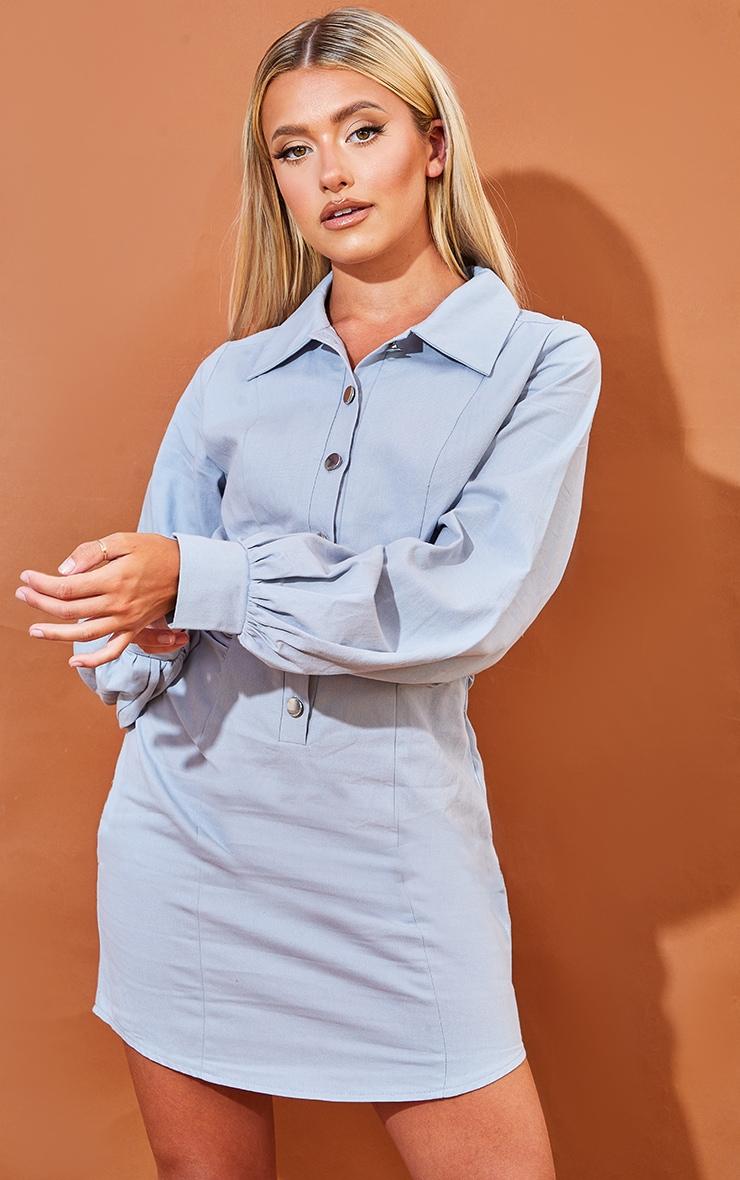 Dusky Blue Ruched Waist Popper Detail Bodycon Dress 3