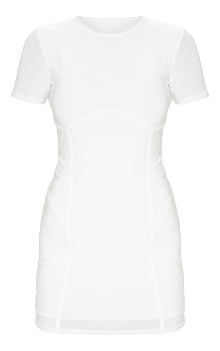 White Slinky Underbust Short Sleeve Bodycon Dress 5