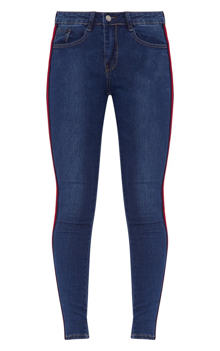 Dark Wash Sports Stripe Skinny Jean 3