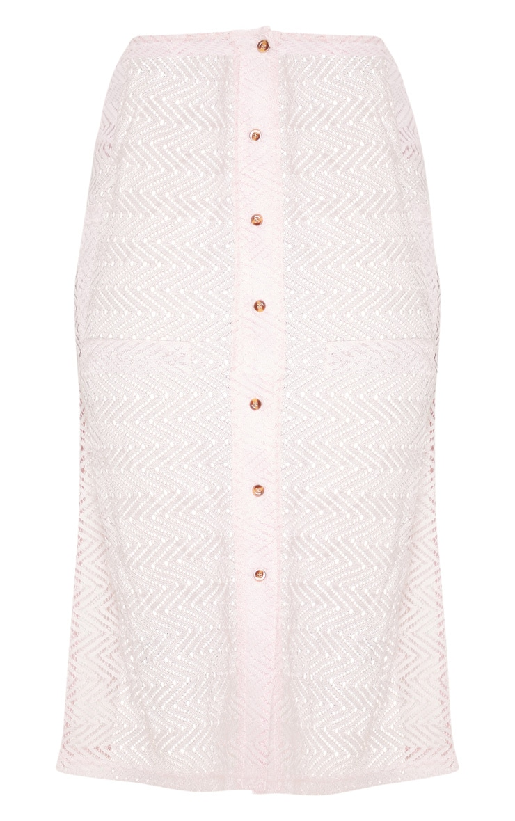 Baby Pink  Crochet Button Front Midi Skirt 3