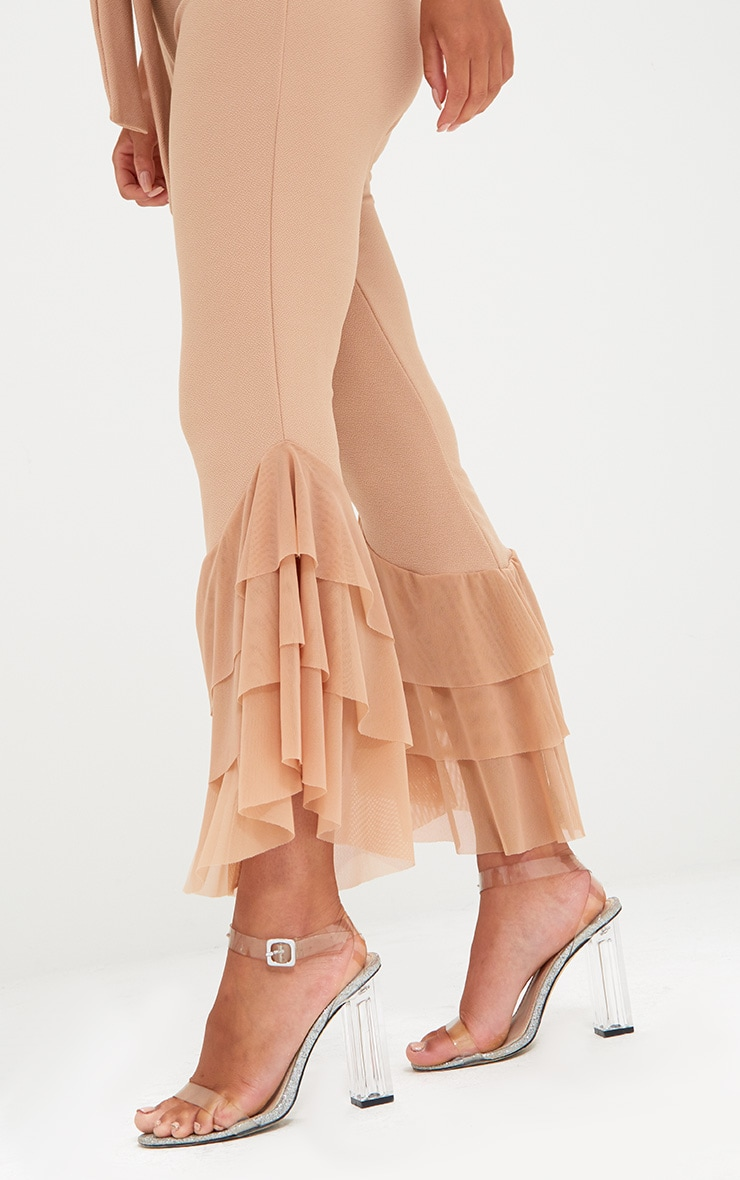 Sand Tulle Frill Flared Trousers 5