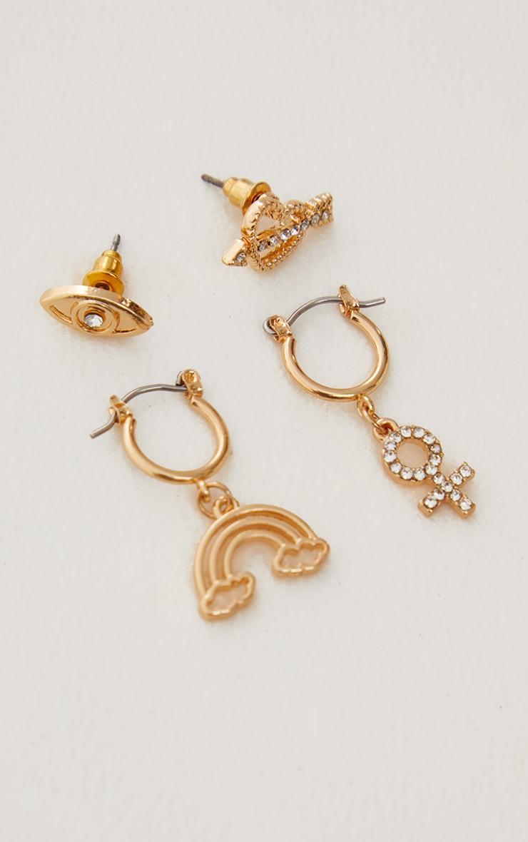 Gold Diamante Motif Stud and Hoop Multi Pack 3