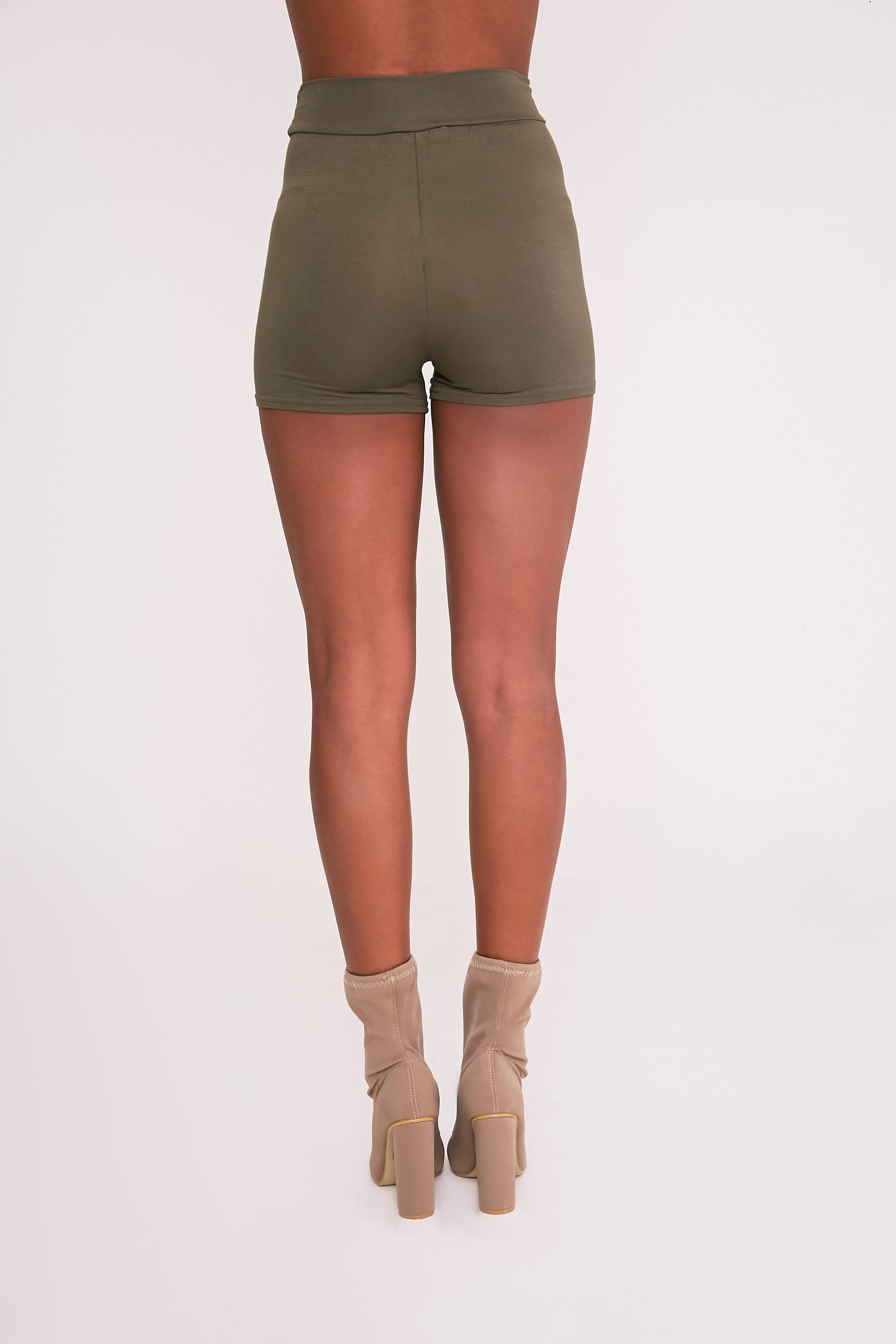 Basic Khaki High Waisted Shorts 5