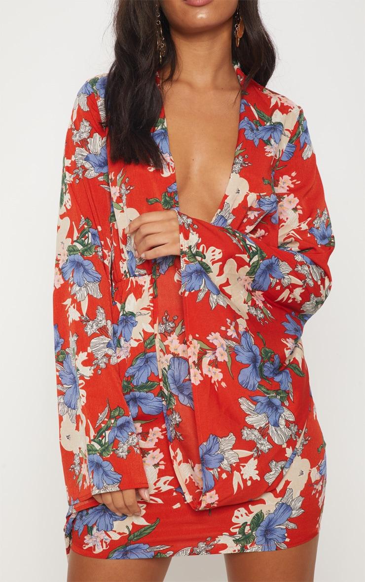 Red Oriental Flare Sleeve Shift Dress 5