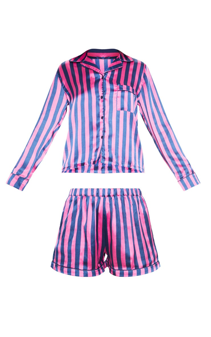 Navy And Pink Stripe Print Short Satin PJ Set 3