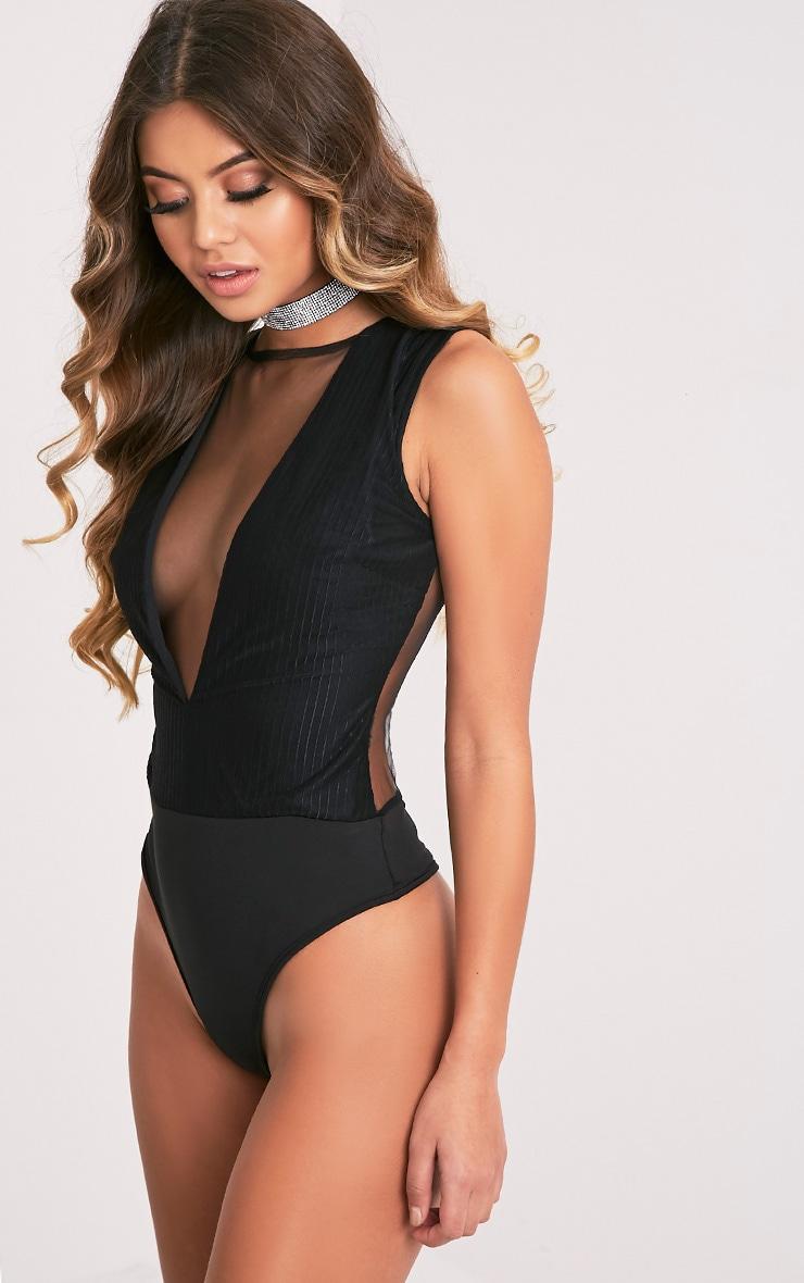 Beth Black Stripe Mesh Sheer Thong Bodysuit 5