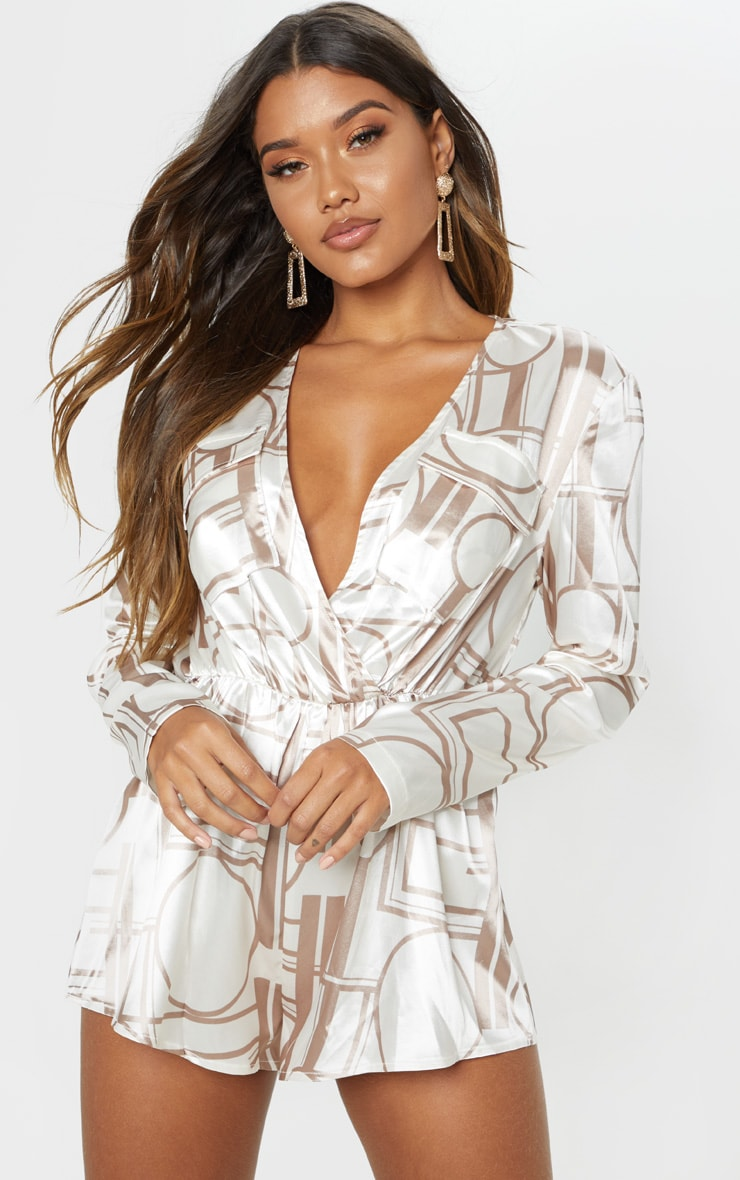 Champagne Chain Print Plunge Playsuit 1