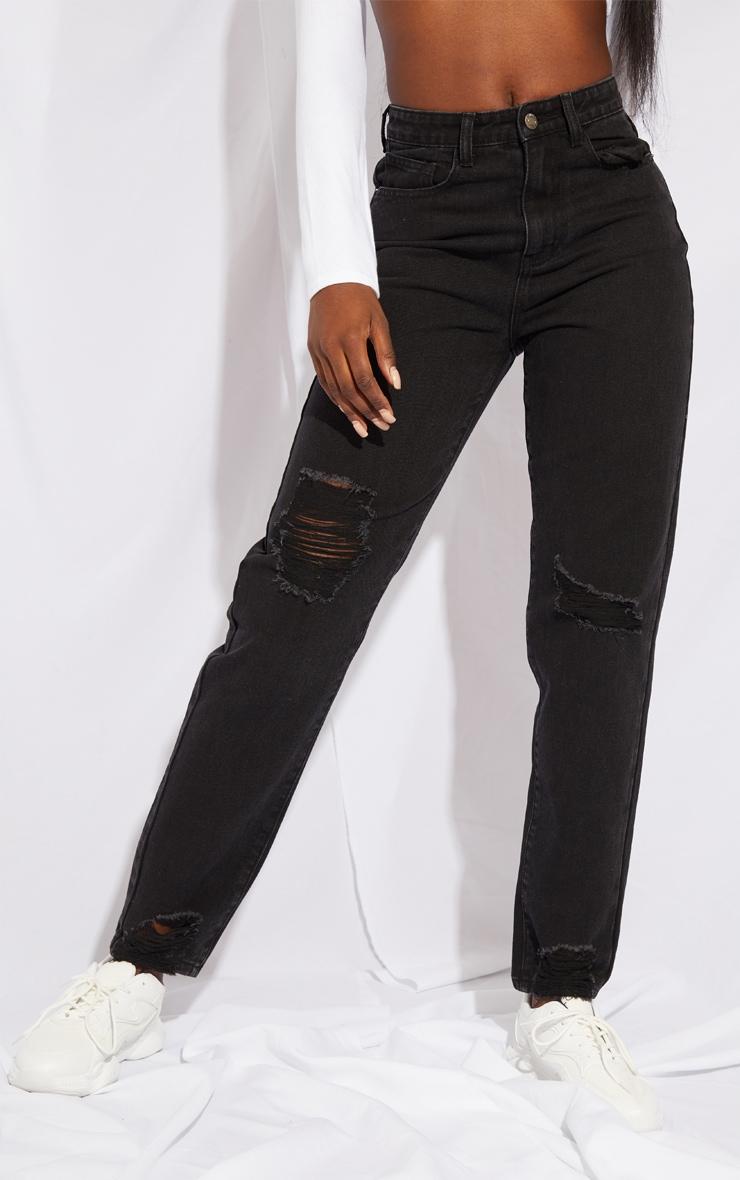 PRETTYLITTLETHING Tall Black Extreme Distressed Hem Knee Rip Mom Jean 2