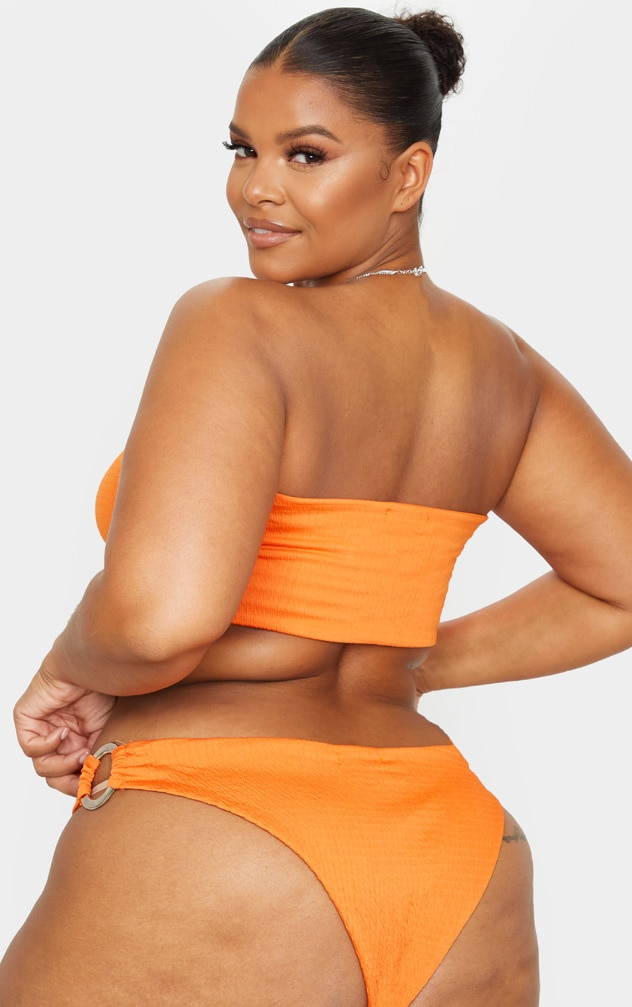 Plus Orange Crinkle Ring Detail Bikini Bottoms 2