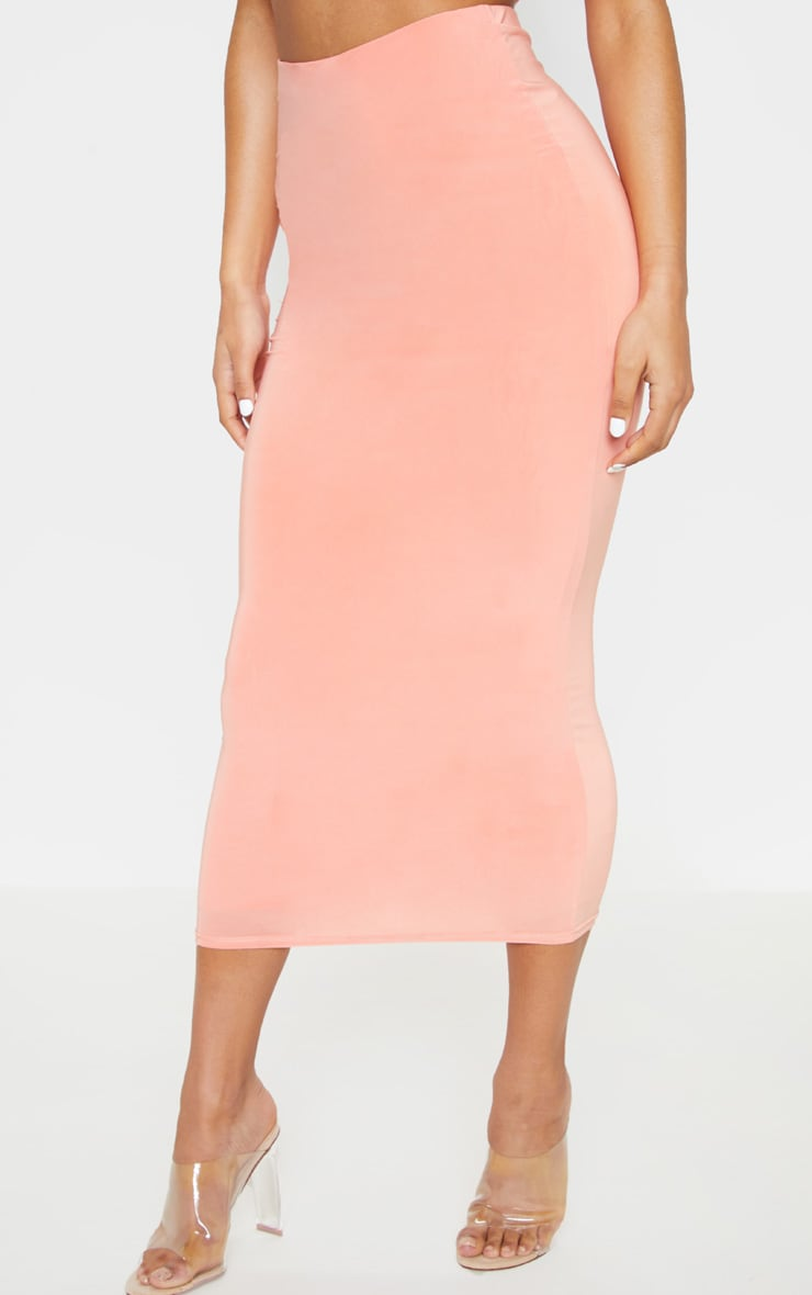 Peach Second Skin Slinky Longline Midi Skirt 2