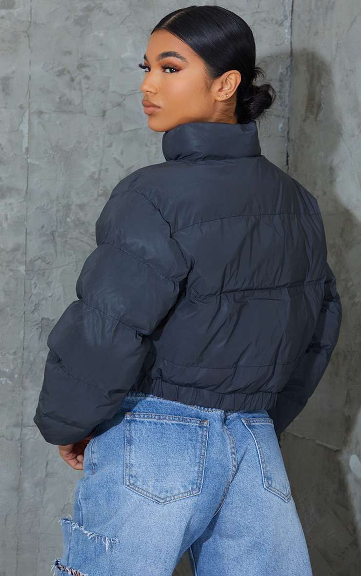 Black Reflective Cropped Elastic Hem Bubble Puffer Jacket 2