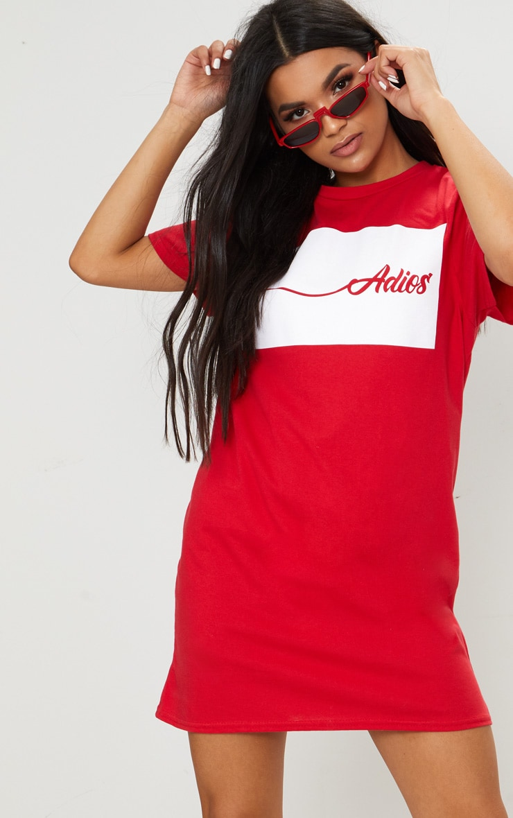 Adios Red Oversized T Shirt Dress