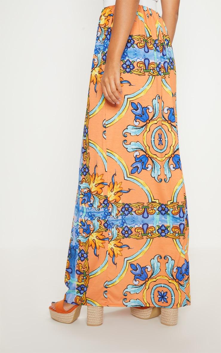 Orange Jersey Printed Maxi Skirt  4
