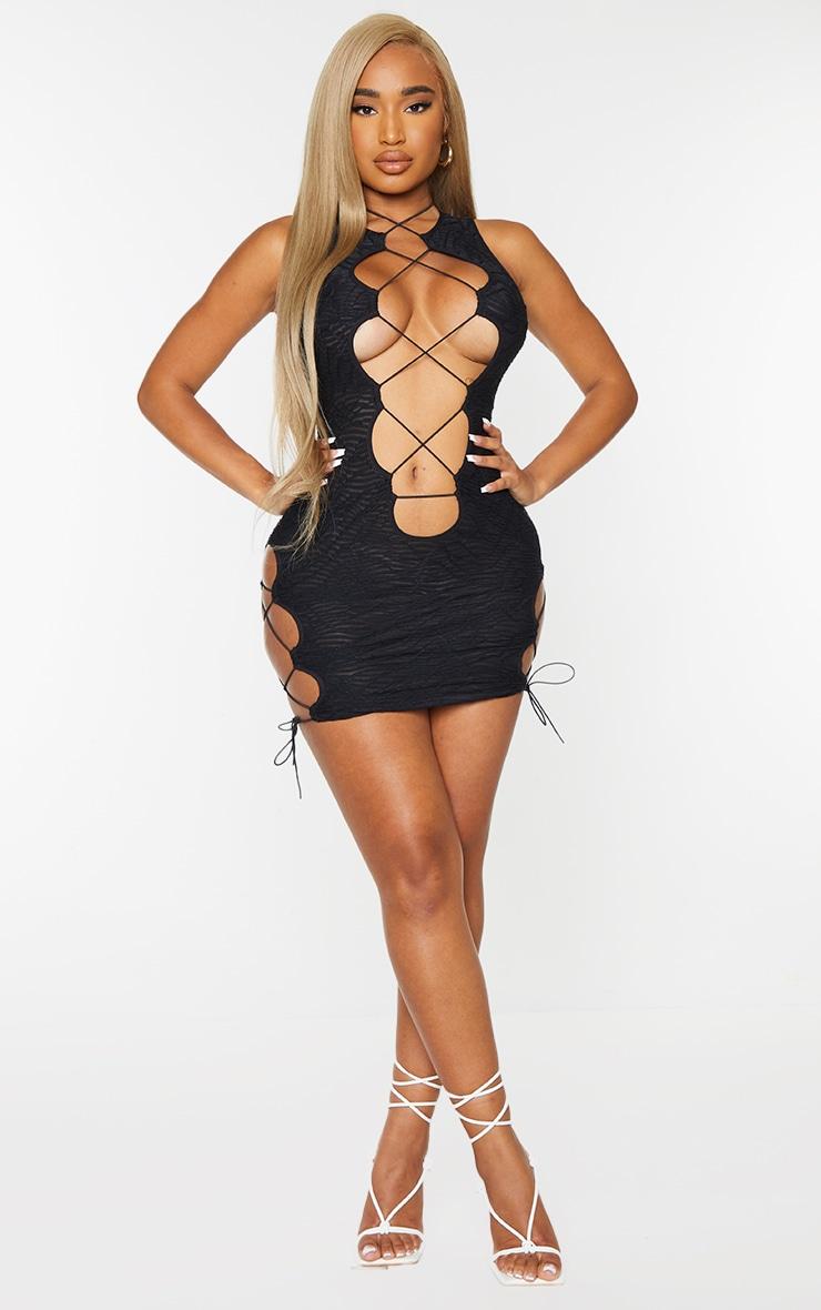 Shape Black Textured Lace Up Detail Bodycon Dress 3