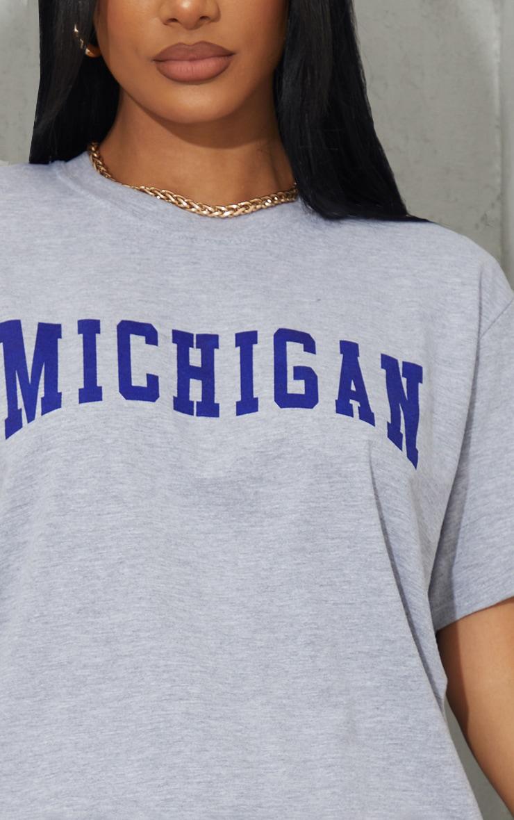 Grey Michigan Slogan Printed T Shirt 4