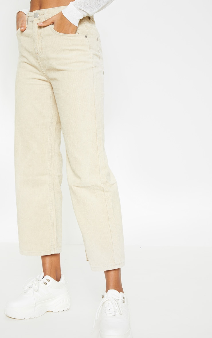 Stone Cord Wide Leg Utility Cropped Jeans 2
