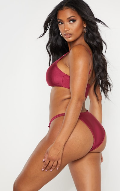 Shape Burgundy Cut Out Ring Detail One Shoulder Swimsuit