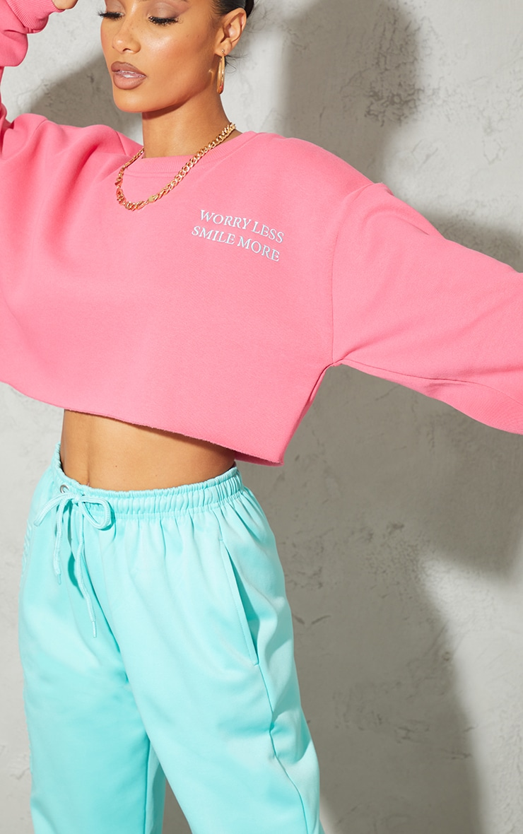 Hot Pink Worry Less Smile More Embroidered Crop Sweatshirt 4