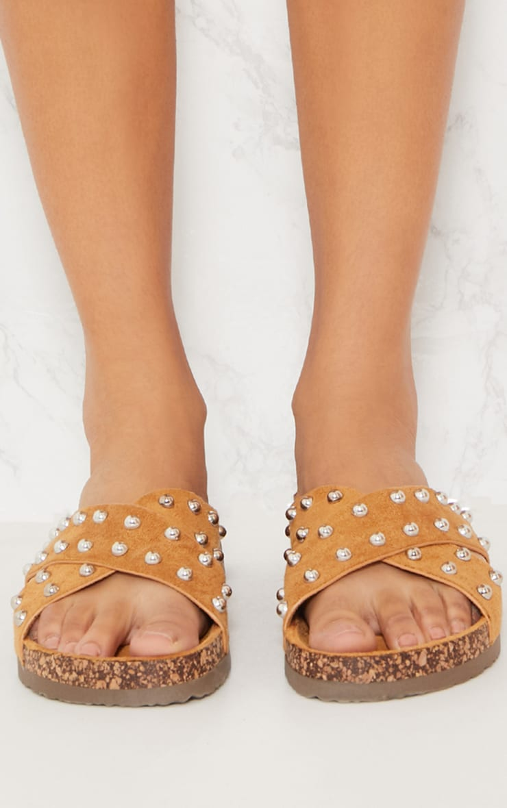 Tan Cross Strap Studded Footbed 5