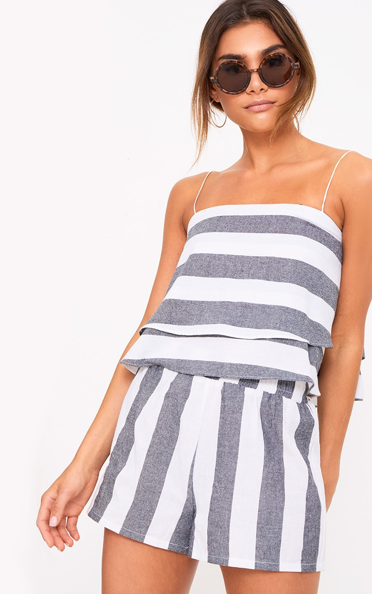 Grey Bold Stripe Beach Shorts 1