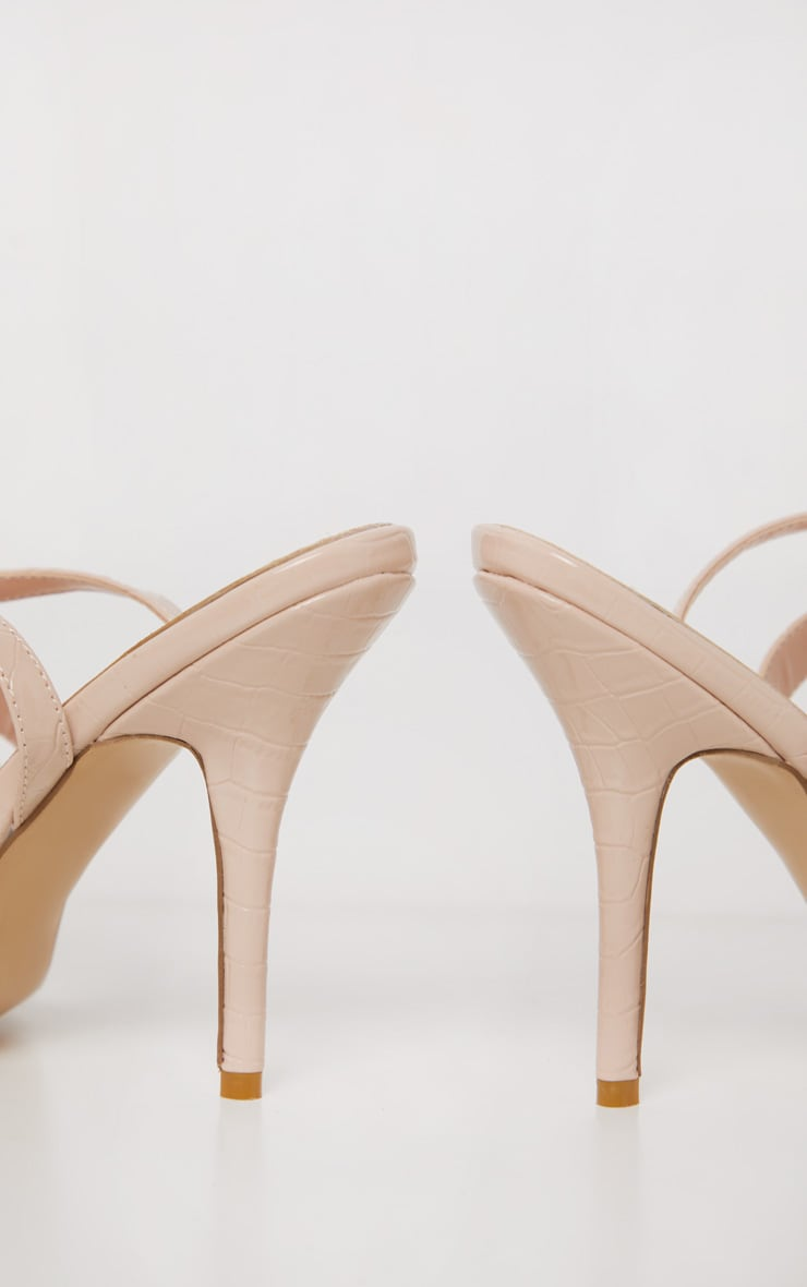 Sandales hautes carrées nude à imprimé croco et boucle cheville 4