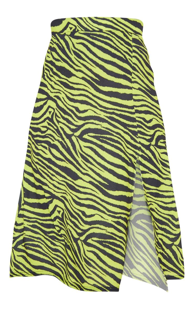 Neon Zebra Print Floaty Midi Skirt 3