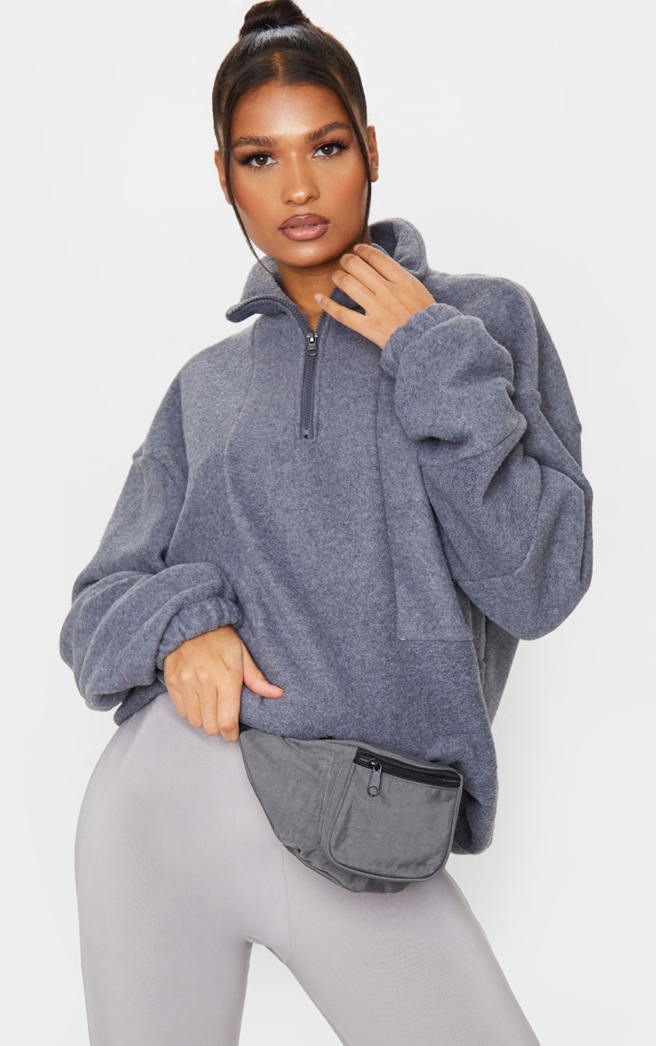 Charcoal Grey Fleece Zip Front Oversized Sweater 1