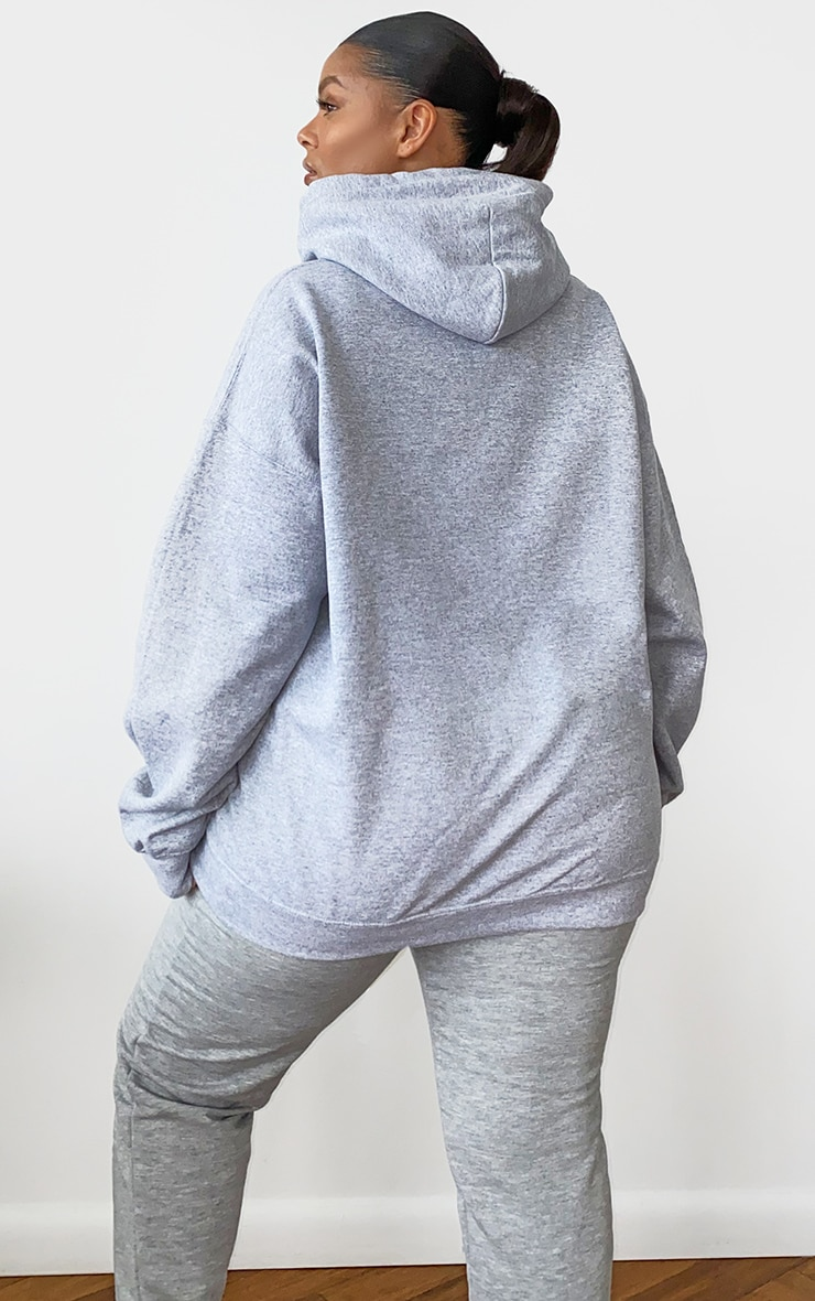 PRETTYLITTLETHING Plus Grey Marl Embroidered Oversized Hoodie 2