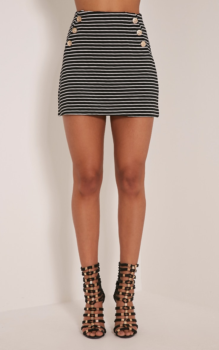 Krystine Black Stripe Button Detail Mini Skirt 2