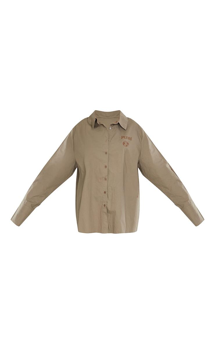 PRETTYLITTLETHING Stone Oversized Cuff Shirt 5
