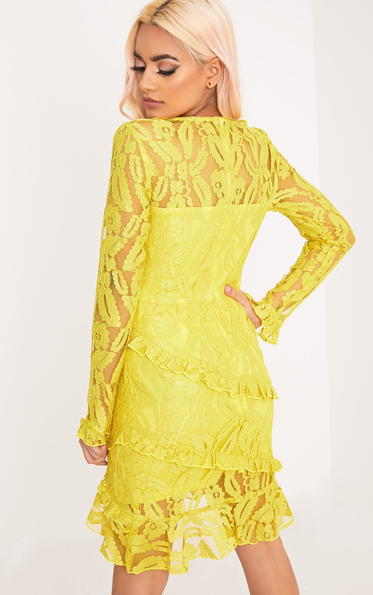 Anneke Yellow Lace Frill Detail Bodycon Dress  2
