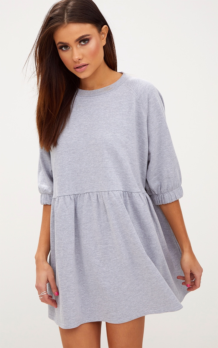 Grey Marl Smock Sweater Dress 1