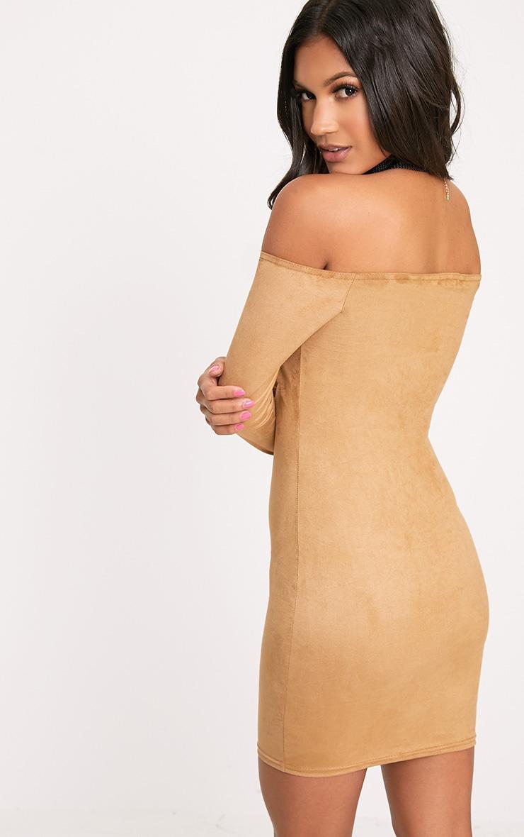 Violla Camel Suede Bardot Long Sleeve Bodycon Dress  2
