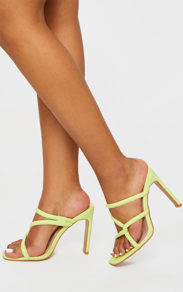 Lime Flat Heel Tube Strap Mule Heels 2