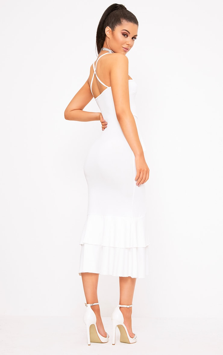 White Strappy Ruffle Front Midi Dress 2