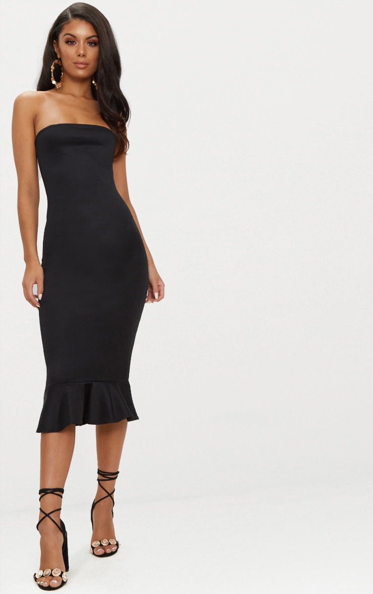 Isabella Black Bandeau Frill Hem Midaxi Dress