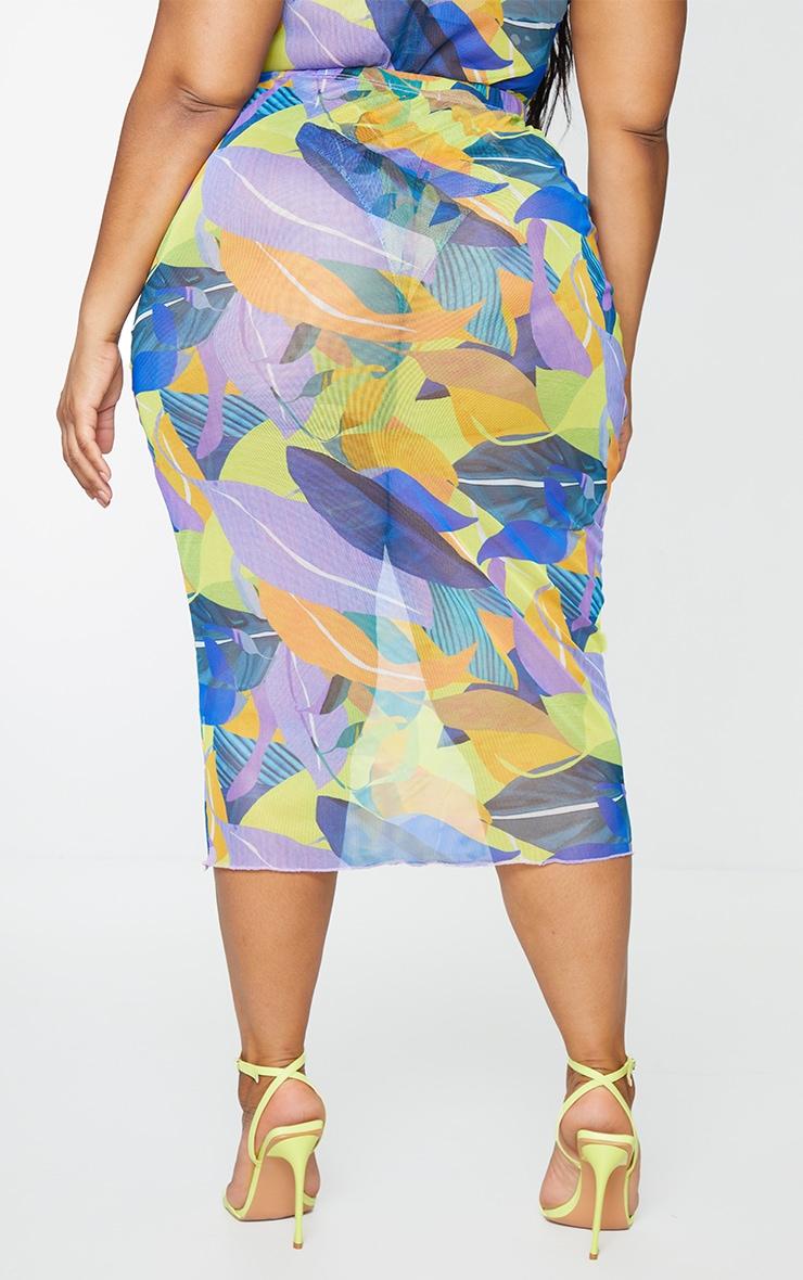 Plus Yellow Geo Print Mesh Bodycon Midi Skirt 3