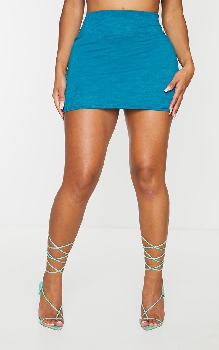 Shape Teal Burnout Jersey Bodycon Skirt 2