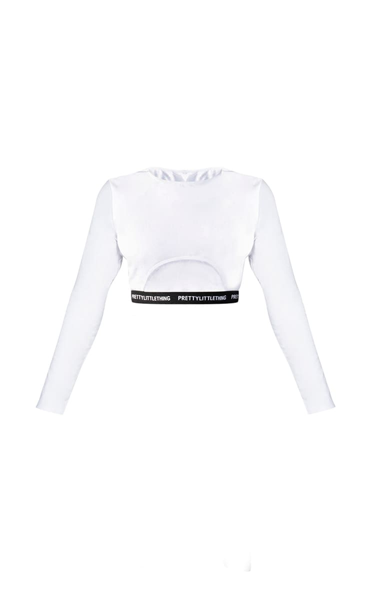 PRETTYLITTLETHING Petite White Long Sleeve Crop Top 5