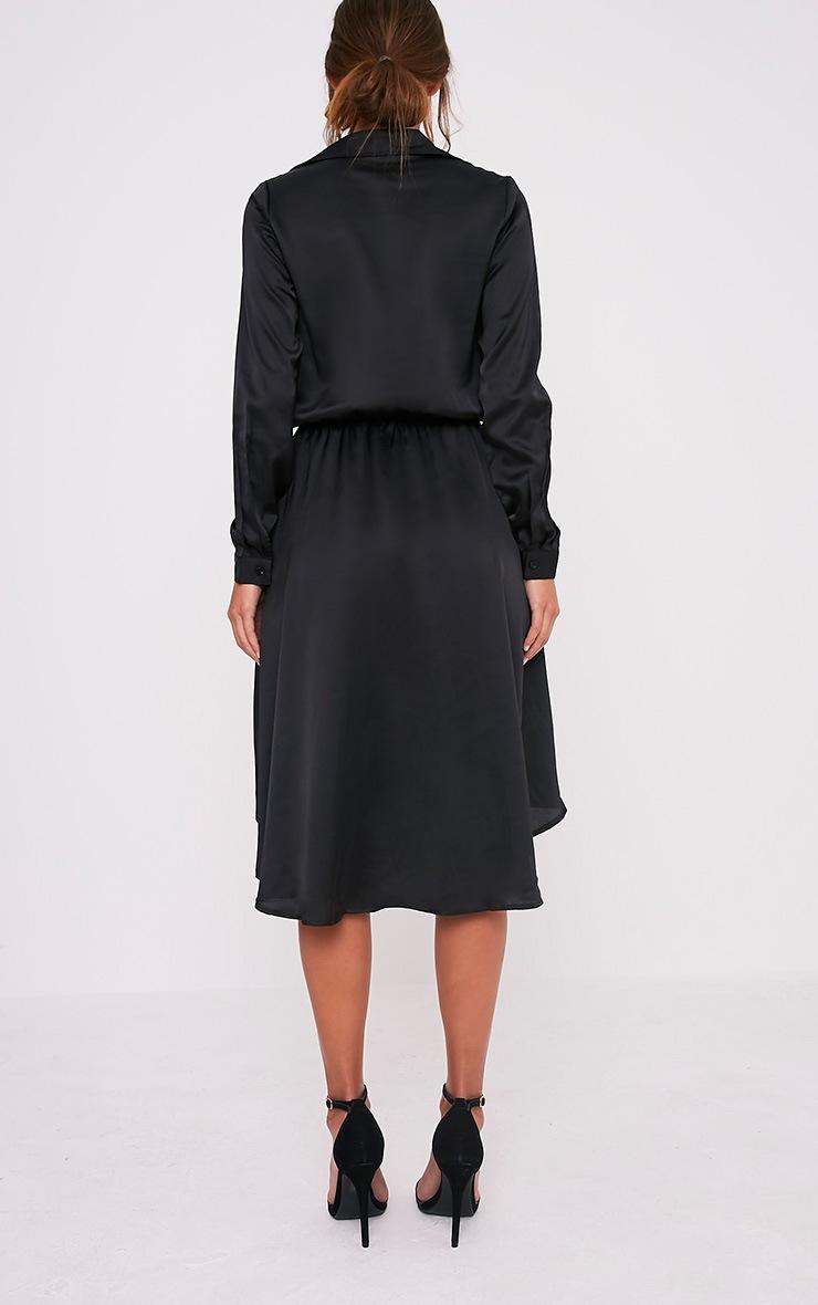 Gabbie Black Silky Wrap Over Midi Dress 2