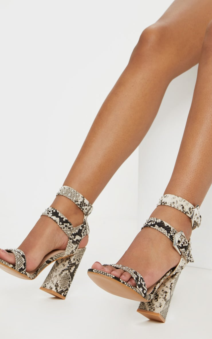 Snake Print Buckle Detail Studded Block Heel Sandal 2