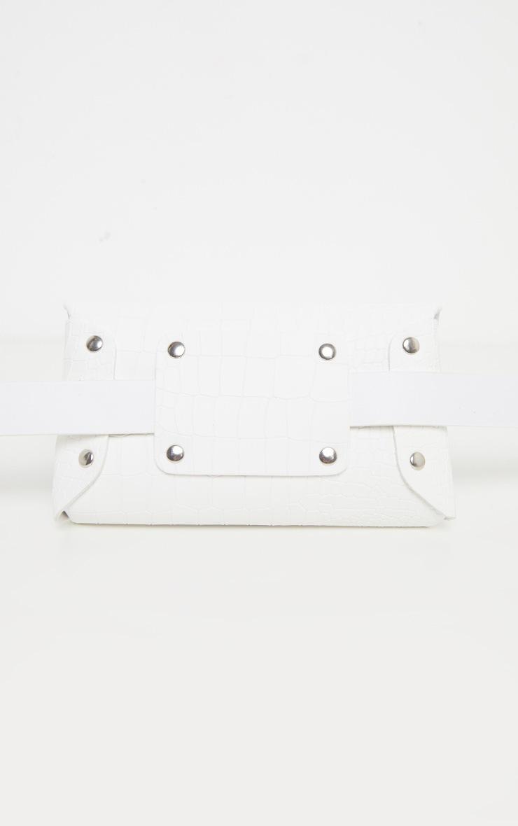 White Croc Square Pouch Belt Bag 3