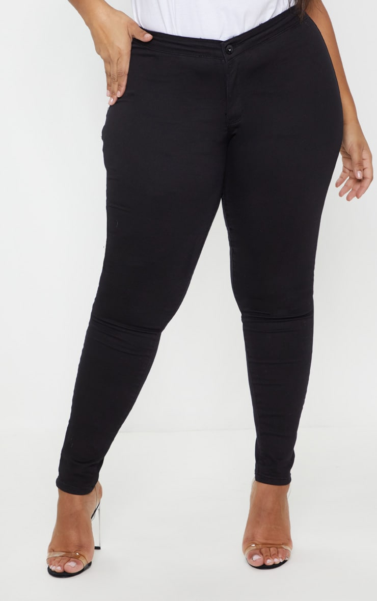 Plus Black High Waisted Skinny Jeans 2