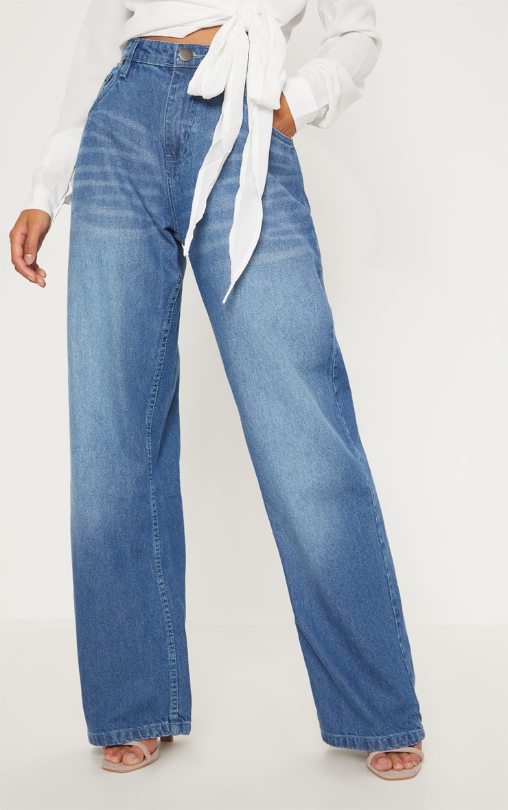 Petite Mid Wash Extreme Wide Leg Jean 2