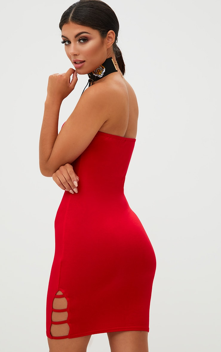 Red Bandeau Strap Detail Bodycon Dress 2