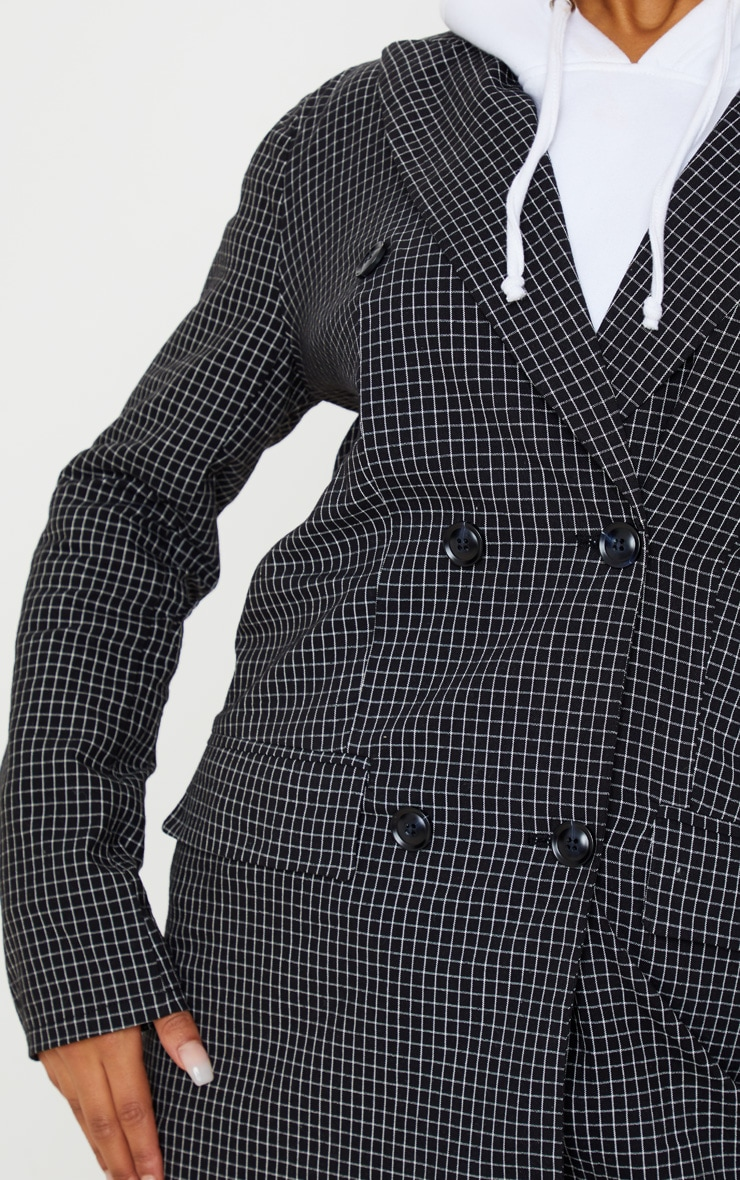 Black Check Print Oversized Button Front Blazer Dress 4