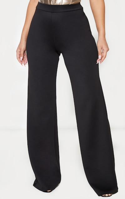 Black Scuba Wide Leg Trousers