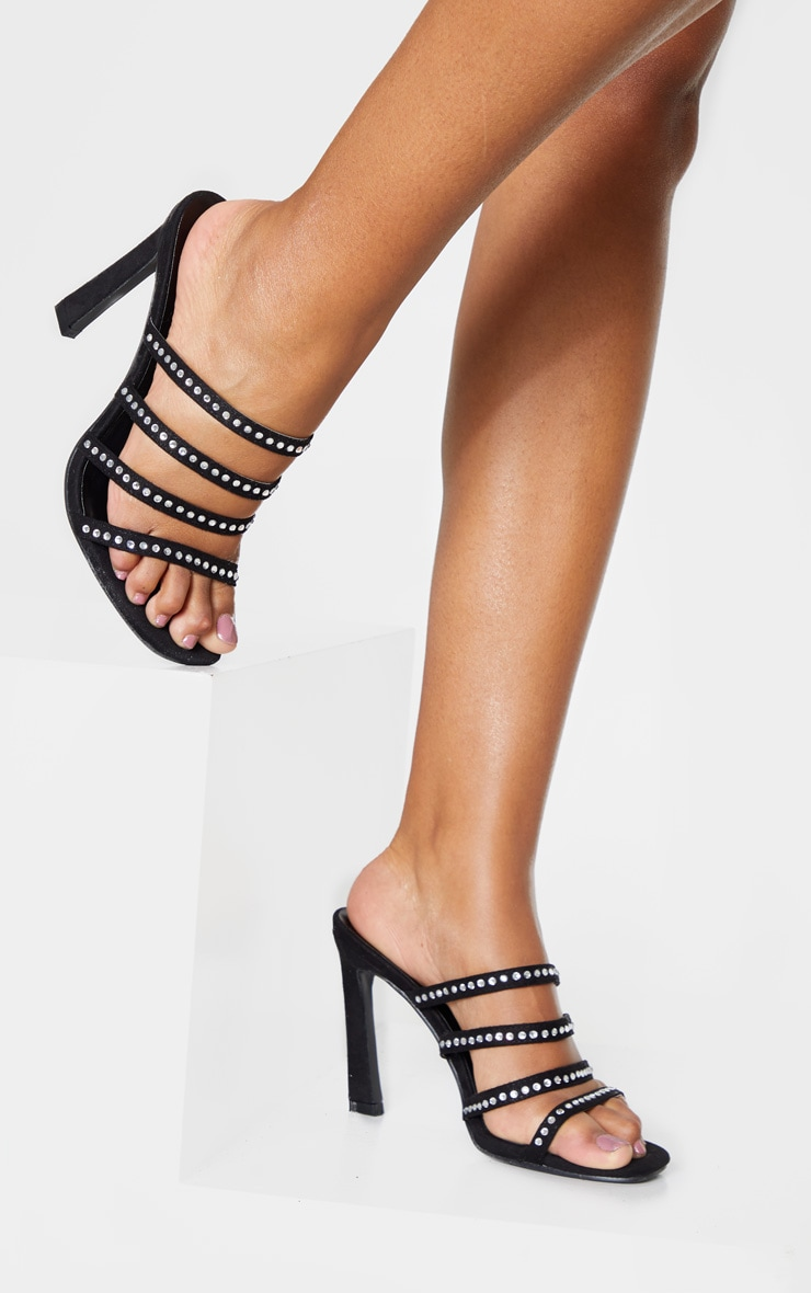 Black Square Toe Multi Strap Diamante Mule Sandal 1