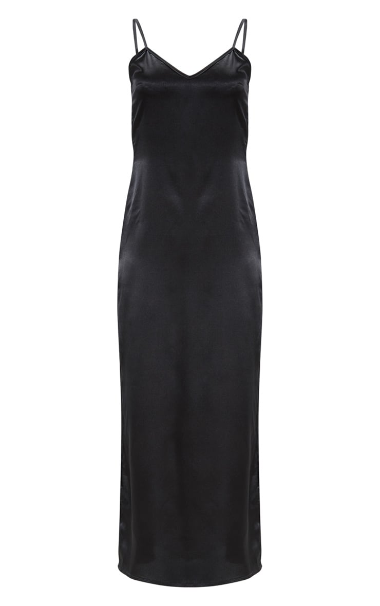 Black Satin V Neck Maxi Dress  3