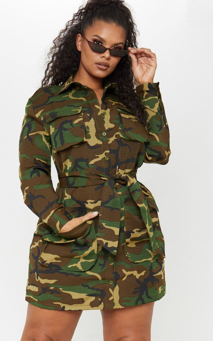Plus Camo Utility Tie Waist Shirt Dress 1